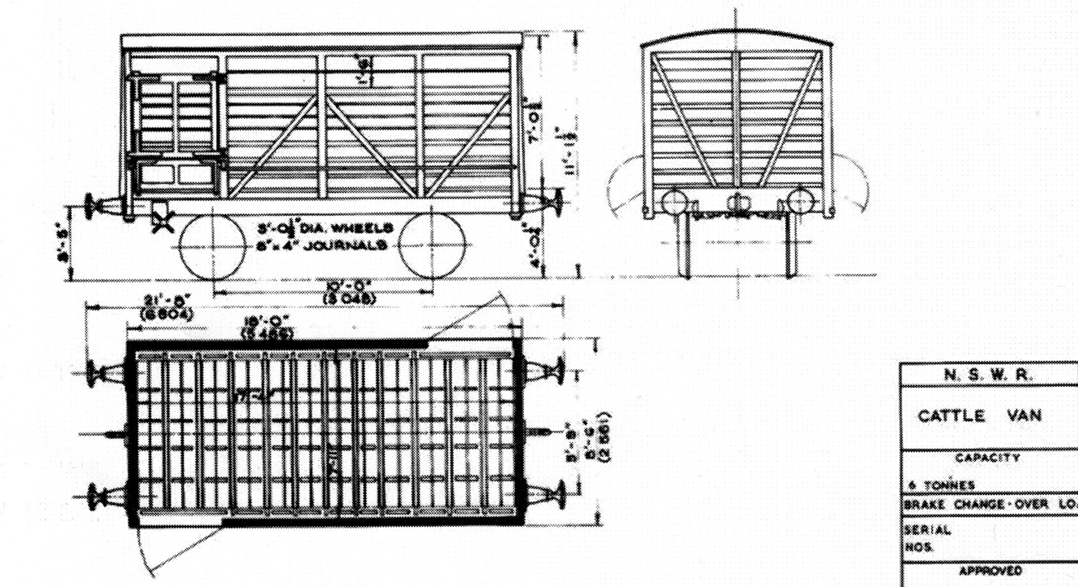 Design Drawings for the Cattle Wagon – NSWGR.